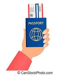 hand holding, abbildung, vektor, benutzer, karten, eben, aus, begriff, reisepaß, geschaeftswelt, design, grafik, flat.
