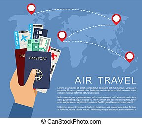 Hand holding airline tickets and passports. Air travel concept.