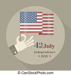 Hand holding American national flag on round background