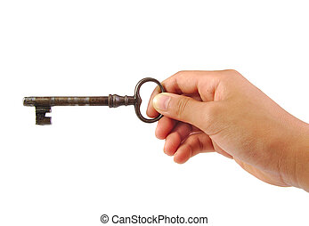 Hand holding an antique key isolated on a white background