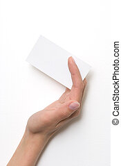 Hand holding an empty business card over white