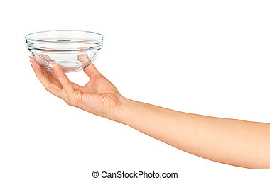 Hand holding an empty glass salad bowl isolated on white backgro