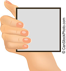 Hand holding an empty paper, vector