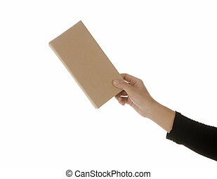 Hand holding an envelope on white background.