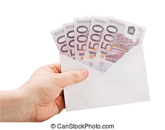 hand holding an envelope with money isolated on a white background