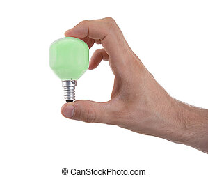 Hand holding an light bulb
