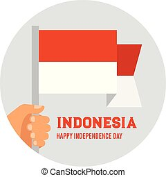 Hand holding and raising the national flag of Indonesia. poster for celebrate the national day of Indonesia. Indonesia Happy Independence Day greeting card . vector illustration