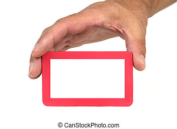 Hand holding and showing a red frame with copy space