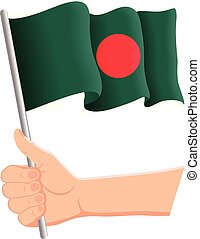 Hand holding and waving the national flag of Bangladesh. Fans, independence day, patriotic concept. Vector illustration