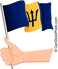 Hand holding and waving the national flag of Barbados. Fans, independence day, patriotic concept. Vector illustration