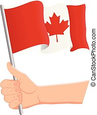 Hand holding and waving the national flag of Canada. Fans, independence day, patriotic concept. Vector illustration