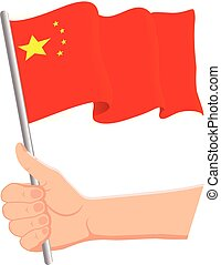 Hand holding and waving the national flag of China. Fans, independence day, patriotic concept. Vector illustration