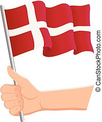 Hand holding and waving the national flag of Denmark. Fans, independence day, patriotic concept. Vector illustration