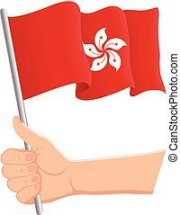 Hand holding and waving the national flag of Hong Kong. Fans, independence day, patriotic concept. Vector illustration