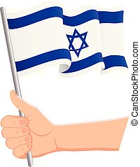 Hand holding and waving the national flag of Israel. Fans, independence day, patriotic concept. Vector illustration
