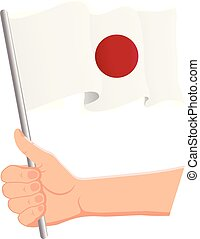Hand holding and waving the national flag of Japan. Fans, independence day, patriotic concept. Vector illustration