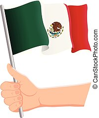 Hand holding and waving the national flag of Mexico. Fans, independence day, patriotic concept. Vector illustration