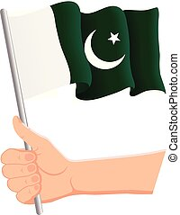 Hand holding and waving the national flag of Pakistan. Fans, independence day, patriotic concept. Vector illustration