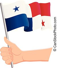 Hand holding and waving the national flag of Panama. Fans, independence day, patriotic concept. Vector illustration
