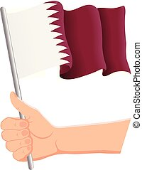 Hand holding and waving the national flag of Qatar. Fans, independence day, patriotic concept. Vector illustration