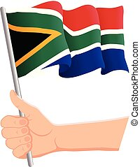Hand holding and waving the national flag of South Africa. Fans, independence day, patriotic concept. Vector illustration