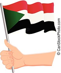 Hand holding and waving the national flag of Sudan. Fans, independence day, patriotic concept. Vector illustration