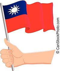 Hand holding and waving the national flag of Taiwan. Fans, independence day, patriotic concept. Vector illustration