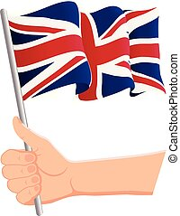 Hand holding and waving the national flag of United Kingdom. Fans, independence day, patriotic concept. Vector illustration