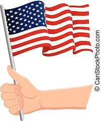 Hand holding and waving the national flag of United States Of America. Fans, independence day, patriotic concept. Vector illustration