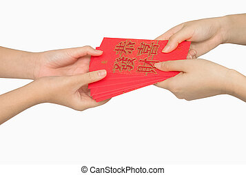 Hand holding ang pow or red packet money gift. Chinese new ...
