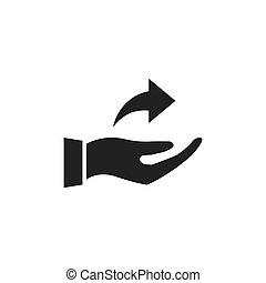 Hand holding arrow icon.