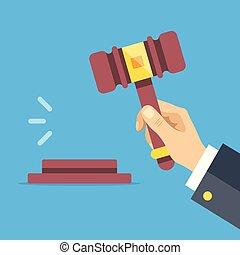 Hand holding auction hammer. Striking gavel. Auction, bidding concepts. Flat design. Vector illustration