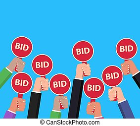 Hand holding auction paddle. Bidding concept. Auction competition. vector