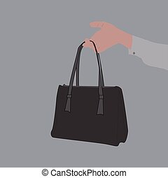 Hand holding bag, illustration, vector on white background.