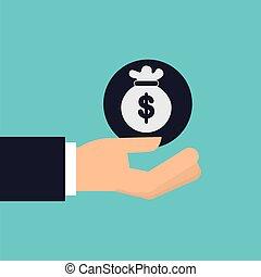 hand holding bag money icon design isolated