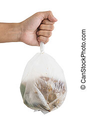 Hand holding bag of garbage waste
