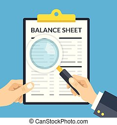 Hand holding balance sheet clipboard and hand holding...