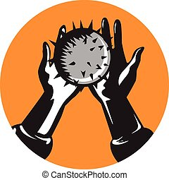 Hand Holding Ball with Spikes Circle Woodcut
