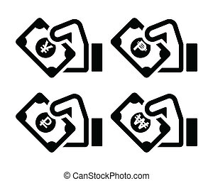 Hand holding banknote icons set