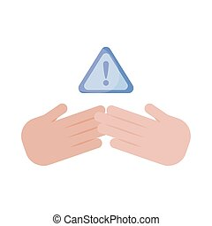 hand holding banner with pay attention please , flat style icon