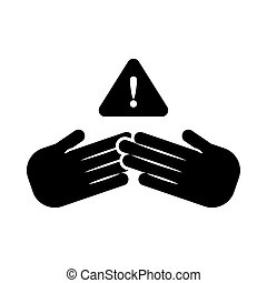 hand holding banner with pay attention please , silhouette style icon