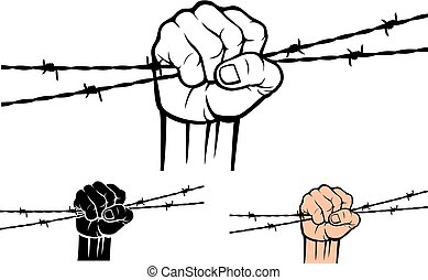 Hand holding barb wire vector illustration