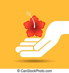 hand holding beauty flower yellow and red lily