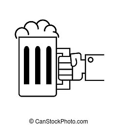 Hand holding beer glass - Vector illustration of a hand...