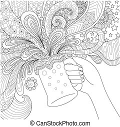 Hand holding beer glass for adult coloring book,poster and...