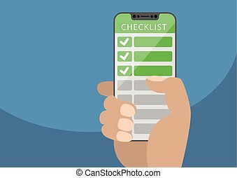 Hand holding bezel-free smartphone with green checklist as concept for mobile and online todo lists. Vector illustration with frameless touchscreen in front of blue background.