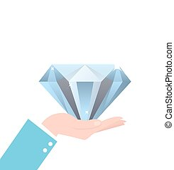 hand holding big diamond concept of rich brilliant in business