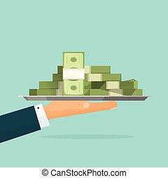 Hand holding big pile of money cash vector, loan salary