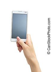 phone - Hand holding big touchscreen smart phone