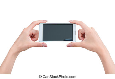 Hand holding big touchscreen smart phone